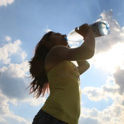 Girl drinking water from bottle