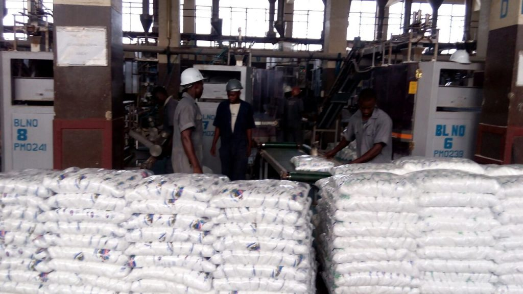 Piles of salt sacks in warehouse