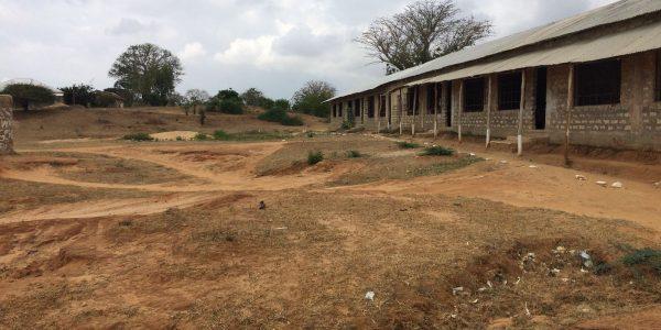 Secondary school in Gongoni alongside sink holes