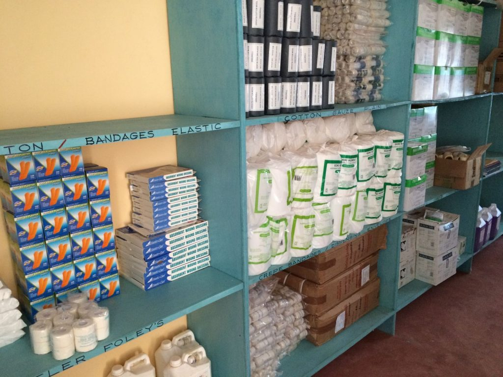 Cotton, bandages and other supplies in Marereni Dispensary